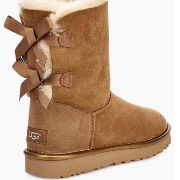 3e7bf2eea90 UGG BAILEY BOW II METALLIC Chestnut brown Boots 9 NWT